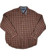 Tommy Hilfiger Mens XL Red Plaid Button Down Long Sleeve Shirt 100% Cotton - $18.80