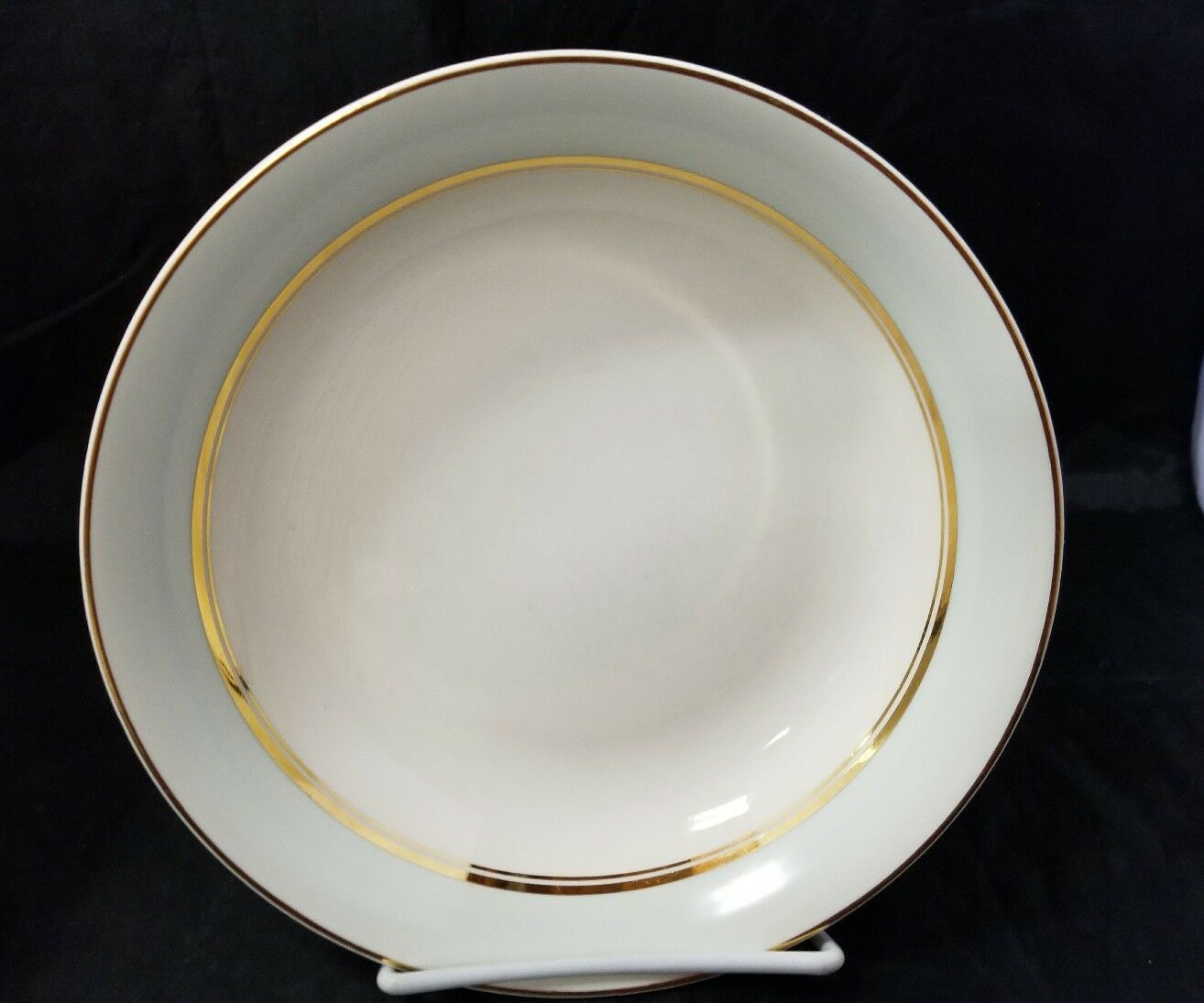 The French Saxon China Co Soup Salad Bowls Set of 4, 22kt Gold, Pottery Made USA image 3