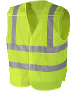 Neon Green High Visibility Safety Vest Reflective Strips Emergency Break... - $16.99