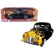 1940 Ford Deluxe Black with Yellow Flames Timeless Classics 1/18 Diecast... - $57.35