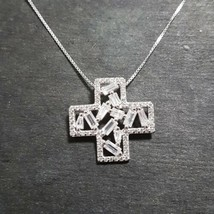 New 14k White Gold On 925 Sterling Silver Cross Sign Pendant Charm w/ fr... - $37.86