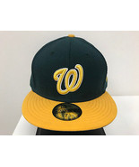 New Era 59Fifty 5950 MLB Washington Nationals 2 Tone Green/Gold Fitted Cap  - $34.99