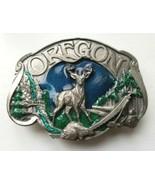 Vintage 1984 Siskiyou Belt Buckle OREGON Deer Beaver Multnomah Falls Log... - $24.95