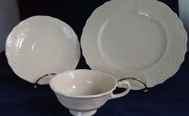 Lenox Ivory Special Textured Cup and Saucer with Desert Plate Gold Label... - $27.12