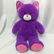 Build a Bear BABW Purple Cat 15 inch Pink Ears and Paws  2017 - $16.44