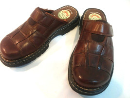 Earth Shoe Gelron 2000 Brett Women's 7 Brown Leather Clog Comfort Sandal... - $18.66