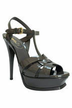Yves Saint Laurent Gray Patent Leather Tribute Sandals Platform Heels Sz... - $578.55