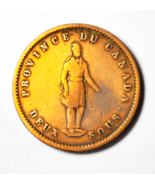 1852 2S Canada Large One Penny Token Two Sous Quebec Bank Tn21 - ₹1,016.52 INR