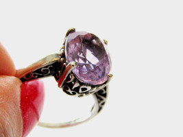 Kabana Sterling Silver .925 Large Oval Amethyst Solitaire Filigree Ring ... - $83.30