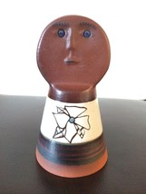 Vtg hand made, painted mud clay pottery bell, face Brown great condition - $8.54