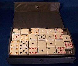 Dominoes Game Cardinal Case Box 53 Tiles White Colored Dots Crafts - $15.79