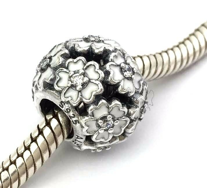 Authentic Pandora Primrose Meadow White Bead Charm 791488EN12 New