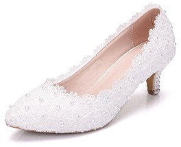 Melesh White Princess Lace Sweet Wedding Bridal Women Kitten Heels 5cm 5... - $51.47