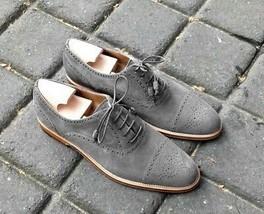 Handmade Men gray color brogue shoes, Men formal casual gray shoes - $159.99