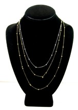 Pair of BEAD CHAIN NECKLACES Vintage T HANG TAGS Double Goldtone, 1 Silv... - $16.99