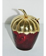 Avon Red Ruby Glass – Strawberry Condiment/Jelly Jam Jar With Lid And Sp... - $14.50