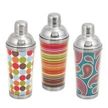 Vintage Cocktail Shaker, Bar 16 Oz Patterned Stainless Steel Cocktail Sh... - £20.36 GBP