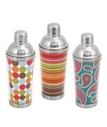 Vintage Cocktail Shaker, Bar 16 Oz Patterned Stainless Steel Cocktail Sh... - $26.29