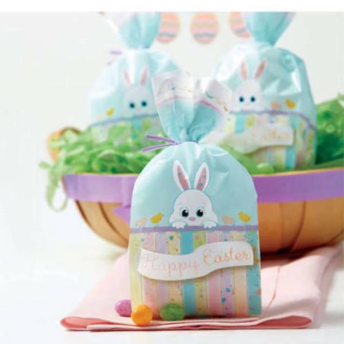 "100 Wilton 4"" x 9.5"" x 2"" Cellophane Happy Easter Bunny Party Treat Favor Bags"