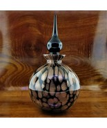 VINTAGE Black MURANO Art Glass Copper & Gold Fleck Perfume Bottle - $69.95