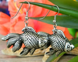 Vintage Fish Goldfish Koi Carp Fantail Dangle Earrings Silver Tone - $22.95