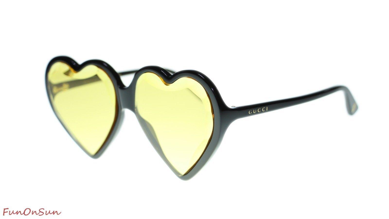 3e808ab9aa0 10. 10. Previous. Gucci Women Heart Sunglasses GG0360S 002 Black Yellow Lens  60mm. Gucci Women Heart Sunglasses ...