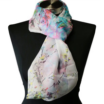 White Pink Teal Floral Viscose Infinity Soft Chiffon Scarf MOTHERS DAY GIFT - $6.35