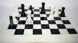 """Handcrafted solid Marble Chess Set, Black & White Size:16"""" X 16""""  - $169.99"""