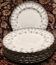 "Spode FLEUR DE LYS GREY (BONE) 8 Salad Plates 8 1/8"" - $89.39"