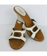 Tommy Hilfiger Weave Wedge Sandal White Size 7.5 Heel Slip On Mule Shoe  - $34.64