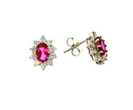 18K WHITE GOLD FLOWER EARRINGS OVAL RED CRYSTAL AND CUBIC ZIRCONIA FRAME image 1