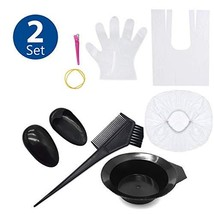 TraderPlus 2 Set Hair Dye Color Brush and Bowl Kit with Disposable Gloves Cape f