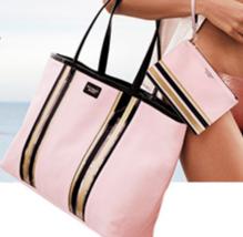 Victoria's Secret Glass Stripe Tote & Mini Pouch NWT Pink Black Gold $58 - $39.50