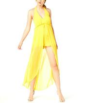 Material Girl Juniors Yellow Halter Romper Overlay Maxi Skirt Dress XS S... - $16.24