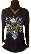Nuevo con Etiqueta Sonoma Bordado Suave Gruesa Suéter de Punto - Azul Marino - - $49.95