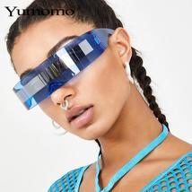 Fashion Siamese Futuristic Wrap Around Monob Costume Sunglasses Luxury Brand Des image 4