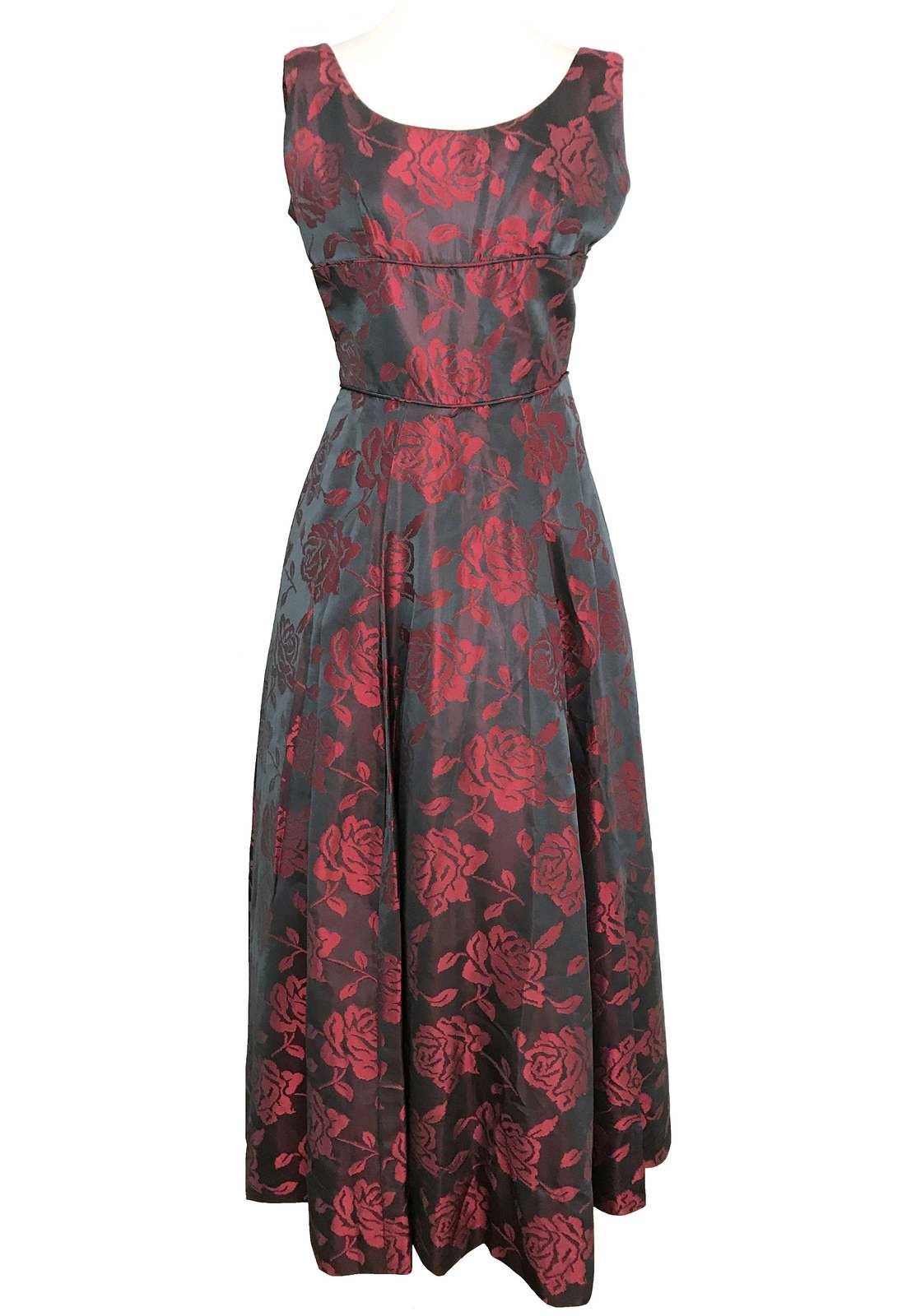 50s Iridescent Silk Jacquard Deep Grey Strawberry Pink Rose Pattern Ball Gown