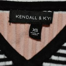 Kendall & Kylie Women's Pink Black Striped Ribbed Knit V-Neck Tank Top Size XS image 3