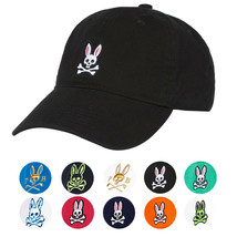 Psycho Bunny Men's Cotton Embroidered Strapback Sports Baseball Cap Hat