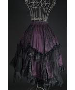 Goth Victorian Steampunk Purple Black Lace Knee Length Asymmetrical Ruff... - $52.71