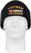 Black Vietnam Veteran Watch Cap Acrylic Embroidered Military Vet Winter Hat - $9.99