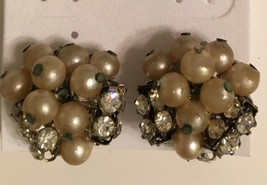 Vintage signed Robert  Pearl and clear crystal clip on earrings  - $29.50