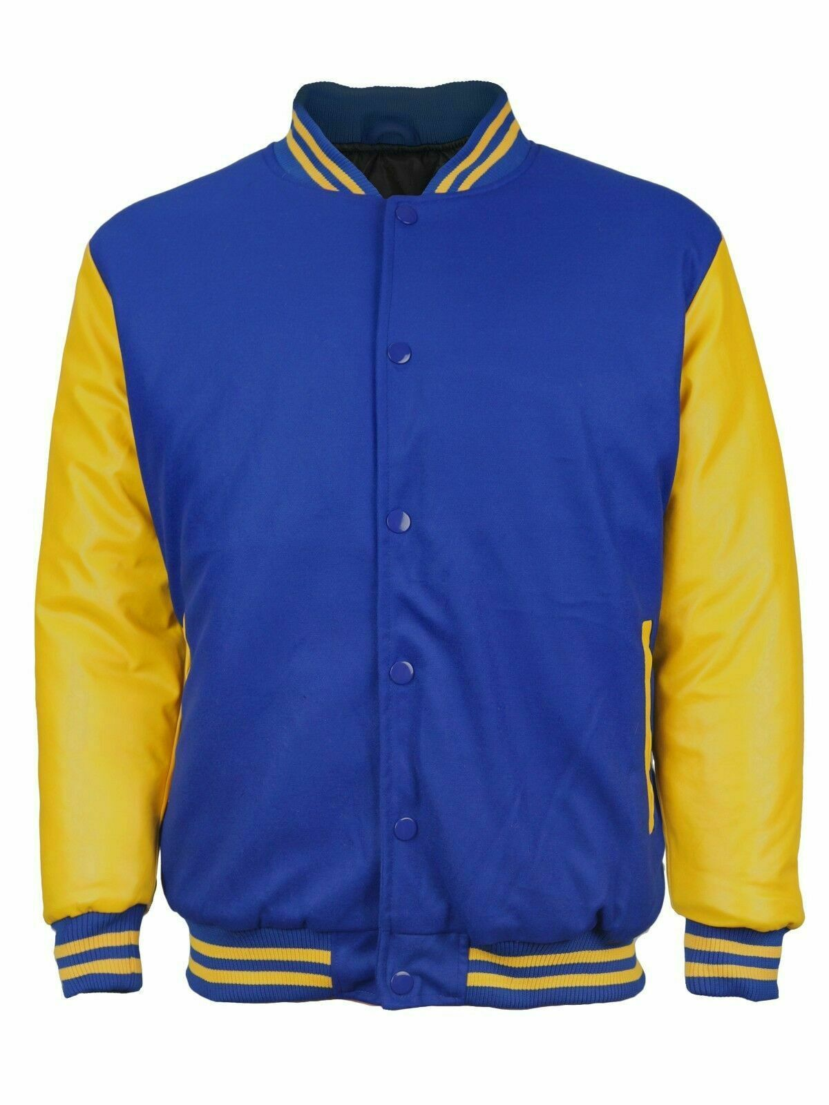 Men's Classic Snap Button Vintage Baseball Letterman Varsity Jacket w/ Defects