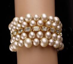 1950's pearl Wedding Bracelet - baroque pearl baguette cuff bangle - up ... - $75.00