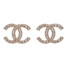 100% AUTH NEW CHANEL 2019 XL Large Gold CC Crystal Stud Earrings - $799.99