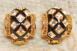 Joan Rivers Black Enamel Crystal Citrine Yellow Rhinestone Earrings - $59.38