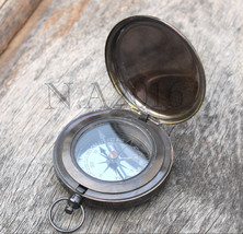 Antique Brass Desk Clock Nautical Pocket Watch With Maritime Ship Desk C... - $27.12