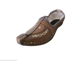 Men Shoes Indian Handmade Leather Mojaries Espadrilles Flat Brown Jutti US 8  - $34.99