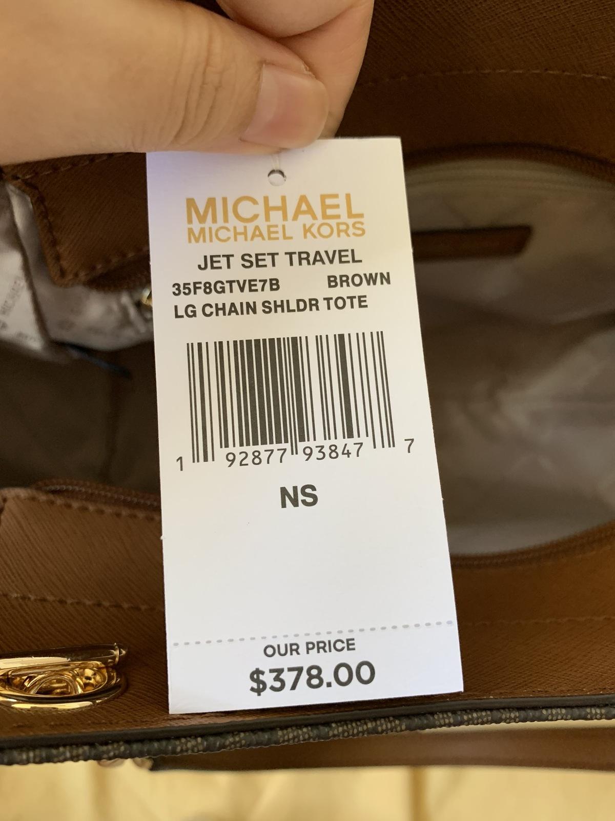 $378 NWT Michael Kors Brown Jet Set Travel Large Chain Tote