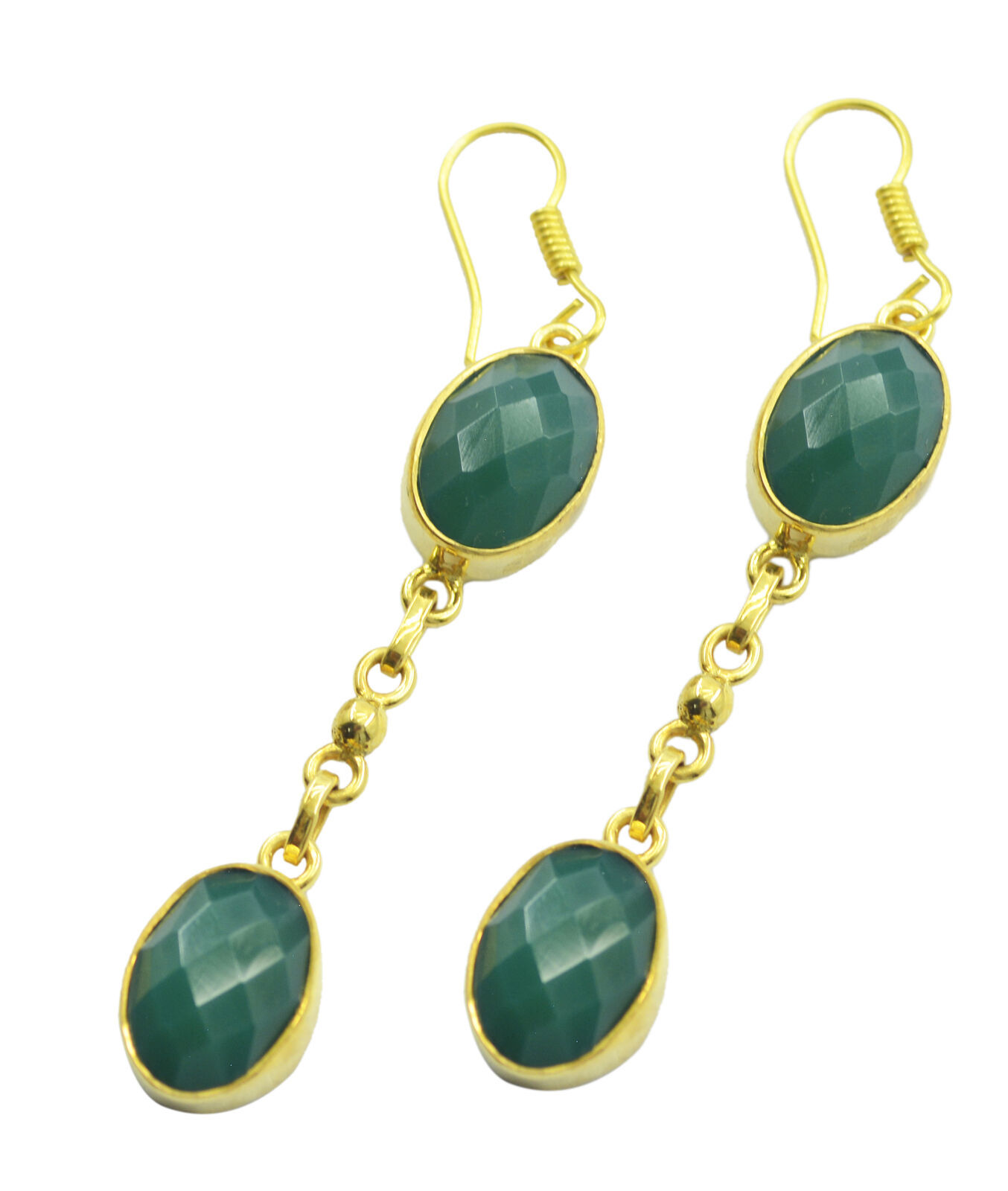 adorable Green Onyx Gold Plated Green Earring genuine jaipur US gift - $14.84